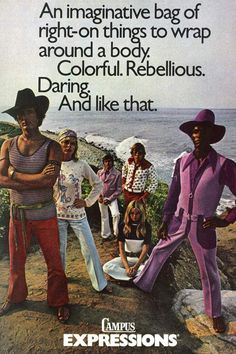 Straight from men's fashion magazine ads and groovy catalogs like JC Penny and Flagg Bros., these men's fashions are far out! Add these groovy threads to y Fashion Fail, 70s Fashion, Fashion Vintage, Fashion Boots, Fashion Themes, Funny Fashion, Fashion Tips, Vintage Advertisements, Vintage Ads