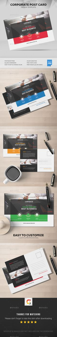 Corporate Post Card Template PSD