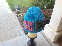Minecraft hat with Creeper, Pig, Enderman, and Steve...crochet for grandson off of graphs..