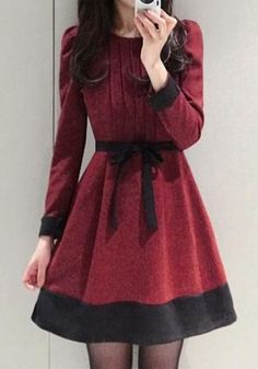 Red Patchwork Bow Long Sleeve Elegant Cotton Mini Dress