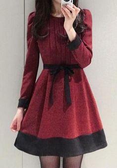 Red Patchwork Bow Long Sleeve Elegant Cotton Mini Dress