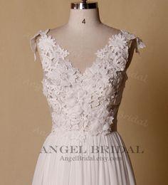 Venice Lace Wedding dress, Boho Wedding Dress,Backless Wedding Dress,Outdoor Wedding Dress,Beach Wedding Dress,Wedding Gown