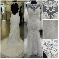 Unique lace gown with sweep train.