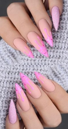 Want some ideas for wedding nail polish designs? This article is a collection of our favorite nail polish designs for your special day. Drip Nails, Aycrlic Nails, Swag Nails, Cute Nails, Manicure, Coffin Nails, Bright Nail Designs, Cute Acrylic Nail Designs, Claw Nails Designs
