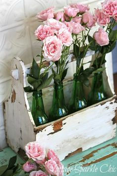 these roses in bottles are absolutely stunning and oh, so shabby chic!