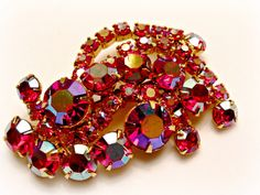 Siam Red Rhinestone Brooch, Swirl, Aurora Borealis Coating, AB Rhinestone, Gold Tone Setting, Vintage Pin