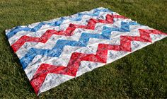 Chevron table cloth/quilt top tutorial.  This one uses bandannas, but any fabric cut into squares will work.  Great how-to.