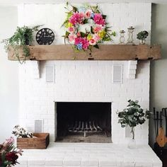 28 Farmhouse Mantel Decor Ideas to Make Your Home Unforgettable for Every Season - The Trending House Farmhouse Fireplace, Fireplace Remodel, Farmhouse Wall Decor, Fireplace Mantle, Fireplace Design, Renovate Fireplace, Farmhouse Style, Fireplace Makeovers, Chimney Decor