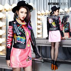 Cheap coat shearling, Buy Quality graffiti leggings directly from China coated lenses Suppliers:     Melinda Style 2015 Autumn New Women's Leather Jacket Fashion Letter Print Pattern Leather Coats Graffiti Crazy Style