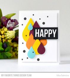 Color Drops STAX Die-namics, Happy Greetings Die-namics, Color Drops Stamp Set - Vika Salmina #mftstamps