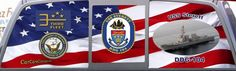 USS Sterett DDG 104 is assigned to the Destroyer Squadron 9. Get your Navy ship rear window graphic today.