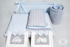 Pościel dziecięca Gwiazdki szare z błękitem - LoveWhite - Pościel do łóżeczka