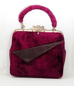 Art Deco Purple Fur & Leather Small Handbag c1920