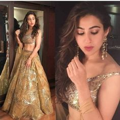 Sara Ali Khan looked ravishing in the gold lehenga that she wore to SRK's Diwali Party by the designer duo Abu Jani Sandeep Khosla. This is perfect to be worn on your loved one's sangeet ceremony. Indian Wedding Wear, Indian Bridal Outfits, Indian Designer Outfits, Bridal Dresses, Lehenga Designs, Dress Indian Style, Indian Dresses, Lehenga Hairstyles, Mehndi Hairstyles
