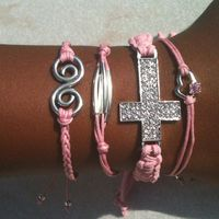 Perfectly Pink Set of 4 Stacking Arm Candy Bracelets Sideways Rhinestone Cross Set