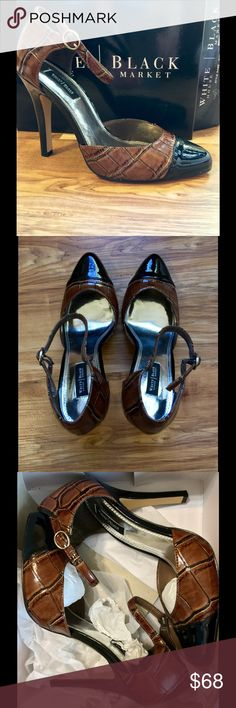 Beautiful Heels Gorgeous WHBM Stlye (Selena) Black & Brown Amimal Print Heels Women's Size 8 NWT! Box included retail Price $98 White House Black Market Shoes Heels