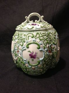 "Nippon heavy moriage biscuit jar with hand painted flowers and beading 6.5"" Mint"
