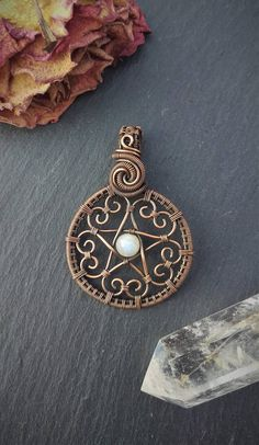 Each pentacle is uniquely handmade to order, using the metal and stones of your choice. The finished measurements of the pendant will be approximately 30 x 45 mm. If there is a stone you would like, but that is not in the list, please feel free to ask, as I can usually accommodate most
