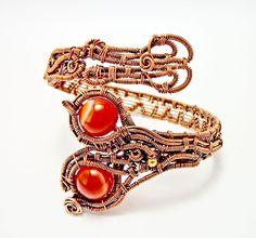 wire wrapped, agate bracelet, wire wrap bracelet, heady bracelet, copper wire bracelet, agate jewelry, gift for her, wire wrap bracelet by PSJEWELRYArt on Etsy