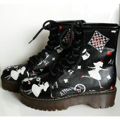 Alice in Wonderland shoes, boots. handmade and unique funky goth punk... (£44) ❤ liked on Polyvore featuring shoes, boots, ankle booties, gothic boots, punk boots, goth boots and punk rock boots