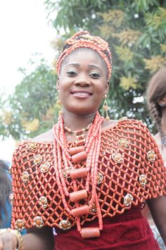 Nigerian actress, Mercy Johnson, adorned in Coral for her traditional wedding.  In Nigeria both men and women wear Precious Coral Beads during their ceremony.