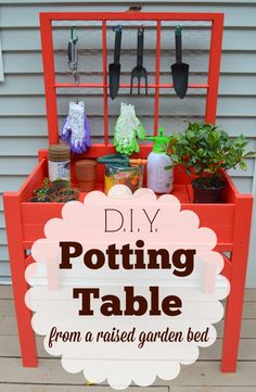 Repurpose a raised garden bed and an old window to make your own beautiful and functional potting table for your garden or porch.