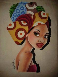 Pintura em tecido de africana. Mulher negra. Minha primeira bolsa pintada em tecido. Inspirada na pintura de Ivoneida Nunes.
