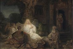 """Abraham Entertaining the Angels,"" 1646, by Rembrandt (1606–1669). Oil on panel, 6 3/8 inches by 8 3/8 inches, private collection. (The Metropolitan Museum of Art)"
