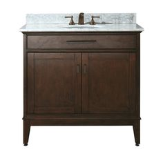 Shop Avanity Madison Tobacco Undermount Single Sink Poplar Bathroom Vanity with Natural Marble Top (Common: 37-in x 22-in; Actual: 37-in x 22-in) at Lowes.com