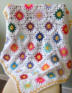 SALE 33% Off Crochet Blanket Granny Squares In by Thesunroomuk