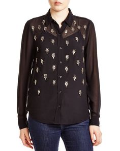 Michael Michael Kors Sheer Embellished Shirt - Bloomingdale's Exclusive