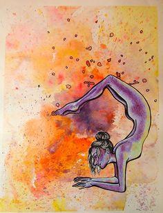 me art My art yoga watercolour scorpion yoga pose splatter