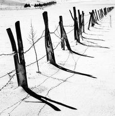 """de-salva:  """" Fence in Snow (Altopiano delle Cinque Miglia, Abruzzo, Italy, 2016)  © Michael Kenna  """""""