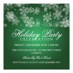 Holiday Party Snowflakes Green Custom Announcement