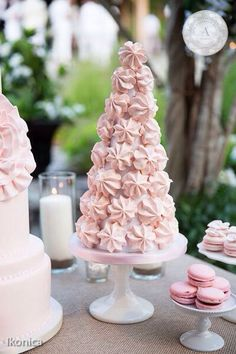 www.anneandersonevents.com Pink meringue tower, the perfect complement to any…