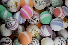 BATH BOMBS    1 cup baking soda    1/2 cup cornstarch    1/2 cup citric acid (try your winemaking store for this)    1/4 cup thick sea salt (optional)    1/4 cup grated cocoa butter (optional)    Extras: Food colouring, herbs, essential oils or fragrances.    Witch Hazel in a small spray bottle. by GreenEyedGypsy