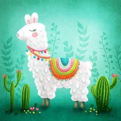 No drama llama Stretched Canvas 28807 by Wall Art Prints Cute Animal Illustration, Illustration Art, Animal Illustrations, Alpacas, Images Lama, Llama Images, Llama Print, Classroom Art Projects, Cute Llama