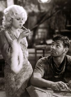 "Jean Harlow and Clark Gable in ""Red Dust"" (1932 pre-code) which was remade with Gable in the same role and Ava Gardner in Harlow's role."
