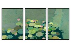 One Kings Lane - Shades of Brilliance - Friedlander, Organic Lily Pads Triptych