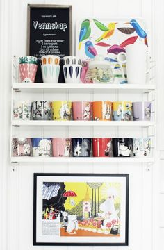 A Simple, Functional Norwegian Nest Sure To Put a Smile On Your Face - Benedicte's colorful mug collection from Moomin is one that started when she was just a little girl. House Furniture Design, Furniture Decor, Mug Storage, Moomin Mugs, Mug Display, Bright Homes, Home And Deco, Kitchen Colors, Interior Design Inspiration