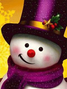 A snowman with a purple hat and scarf.