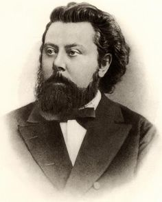Modest Mussogsky (1839-1881) belonged to the Russian National School of composers. His most famous works are the opera Borus Godunov, the orchestral Night on Bare Mountain and the piano suite Pictures at an Exhibition, later orchestrated by Ravel. He died at age 42 after complications from his alcoholism.