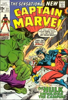 Captain Marvel vs Hulk Captain Marvel (Vol. Captain Marvel Shazam, Hq Marvel, Marvel Comics Superheroes, Marvel Series, Marvel Comic Books, Marvel Characters, Comic Books Art, Book Art, Comic Art