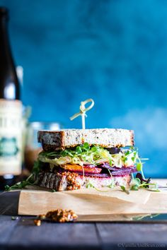 Simple ingredients shine in this easy vegetarian sandwich recipe. Roasted Beet and Sauerkraut Sandwich with whole grain mustard brings the flavors together! Vegetarian Sandwich Recipes, Vegan Recipes, Vegan Food, Vegetarian Food, Lunch Recipes, Yummy Recipes, Yummy Food, Buffet, Sauerkraut