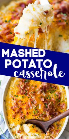 The creamiest, cheesiest mashed potatoes EVER! This easy to make side dish is loaded up with extra melty cheese, crispy bacon, and chives. You can make this dish ahead Leftover Mashed Potatoes, Potatoe Casserole Recipes, Mashed Potato Recipes, Casserole Dishes, Potato Cassarole, Dinner Sides, Dessert, Food Dishes, Side Dishes