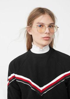 Kontrast süslemeli sweatshirt   MANGO