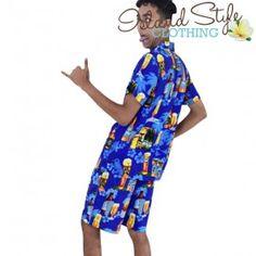 Mens Cabana Set boardies and matching hawaiian shirt. Blue Beer party clothing australia day