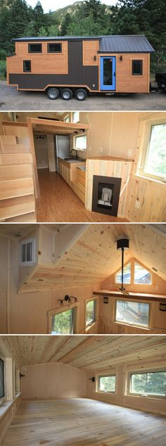 The Monarch is a rustic cabin with a bit of modern flair with its exterior metal accent pieces. The 26' tiny house on wheels was built by SimBLISSity in Lyons, Colorado.