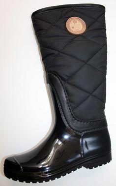 Fresas con Nata bota agua negra con caña acolchada 3d2af0b33ec60