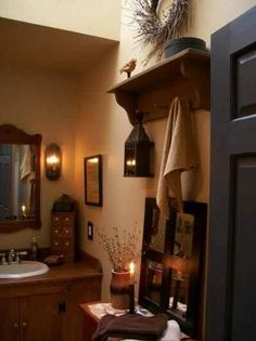 Beautiful bathroom prim decor. Love everything about this room!